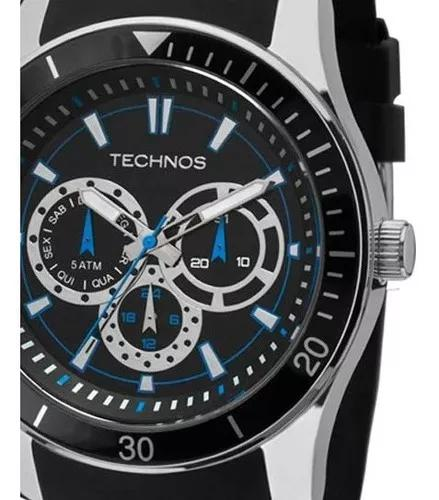 Relógio masculino technos pulseira de silicone preto