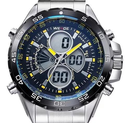 Relógio masculino weide prata original prova d' água