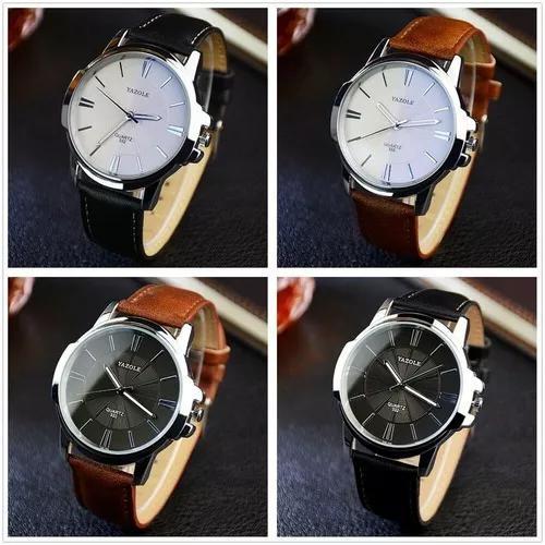 Relógio masculino yazole couro barato de pulso quartzo top