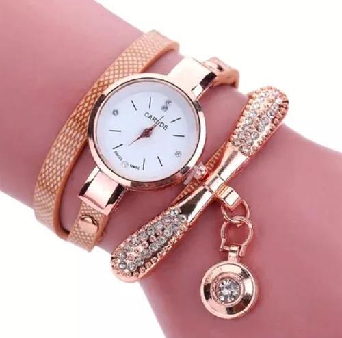 Relógio pulseira de couro, com pedra vintage f