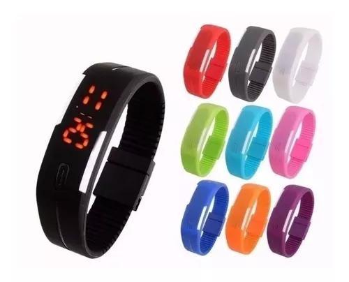 Relógio pulseira silicone digital led bracelete várias