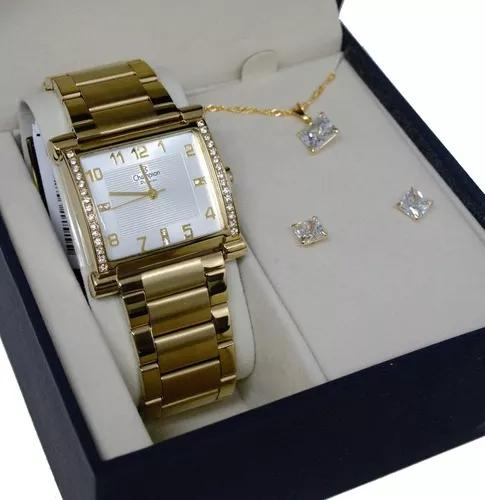 Relogio champion dourado quadrado + kit s