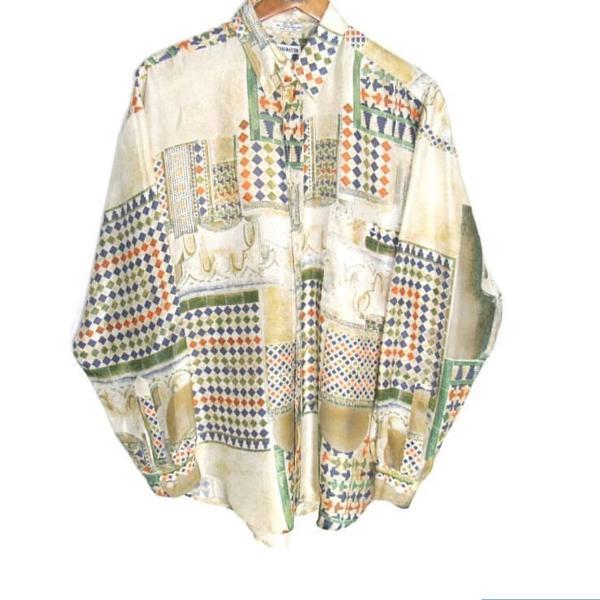 Camisa vintage seda estampada imagination