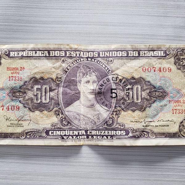 Cédula banco dos estados unidos do brasil 50 cruzeiros -