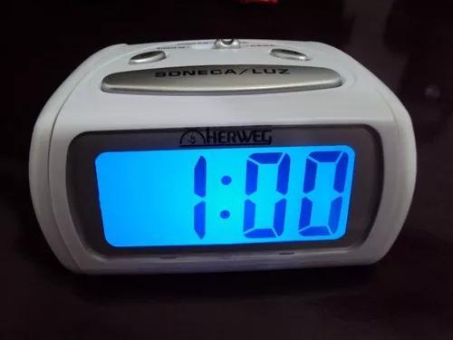 2916 relógio despertador digital branco luz led azul herweg