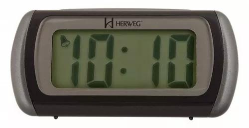 2916 relógio despertador digital luz noturna led azul herwe