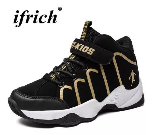 Basquetebol meninos sapatos de treinamento ouro branco