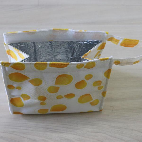 Bolsa térmica branca e amarela pequena