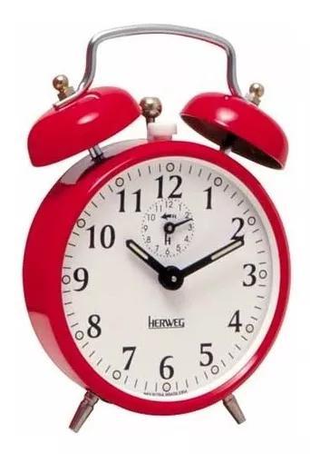 Despertador cordas antigo alarme forte metal vermelho 2208
