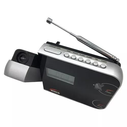 Despertador digital am/fm com projetor de horas preto cr-308