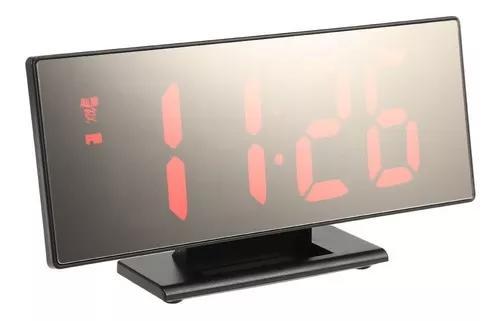 Despertador digital com superfície de espelho com led verme