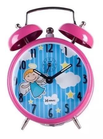 Despertador mecanico infantil pink escuro decorativo 2229