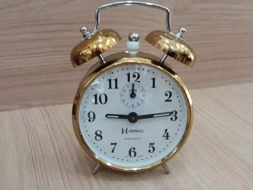 Despertador mecânico campainha estilo antigo prata dourado