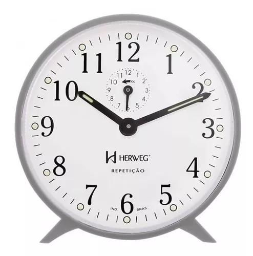 Despertador mecânico herweg 2320 024 cinza - refinado