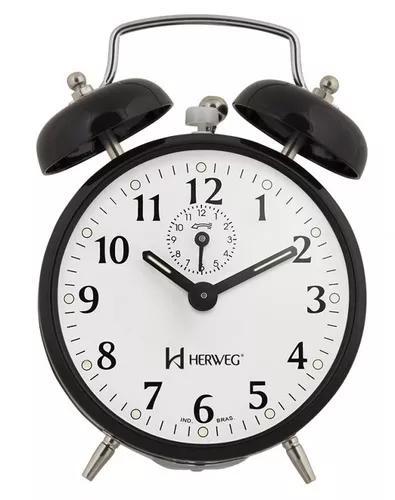 Despertador mecânico preto herweg a corda com alarme 2208