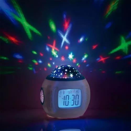 Despertador+ relógio+ projetor de estrela+ 10 musicas