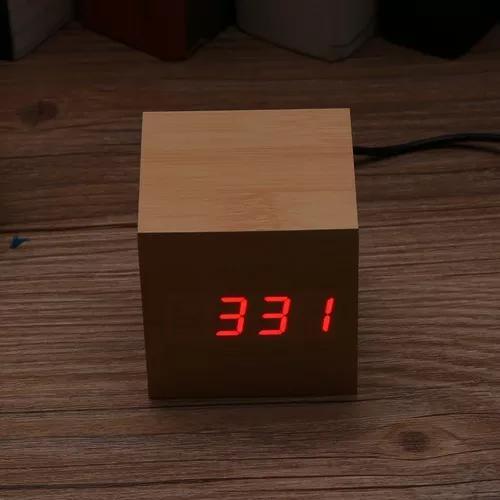 Mini madeira eletrônica digital led exibição usb carregam