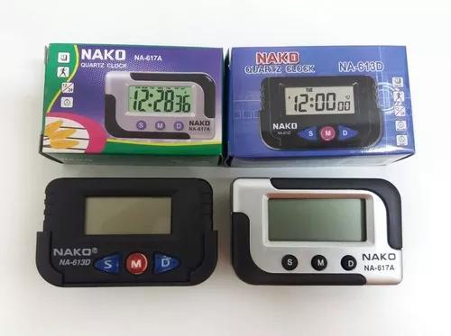 Mini relógio despertador digital pequeno cronometro nako