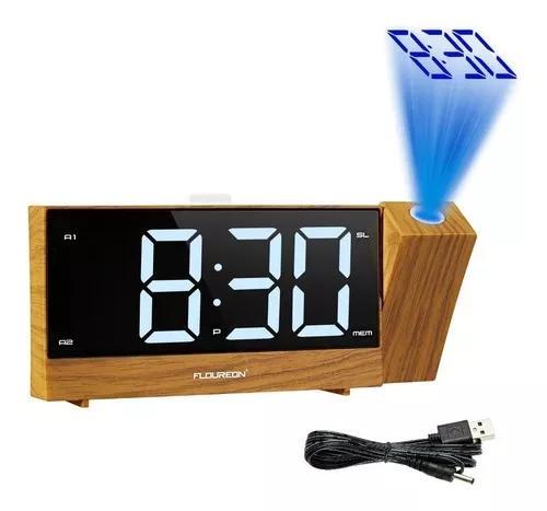 Projeção rádio relógio despertador led digital mesa