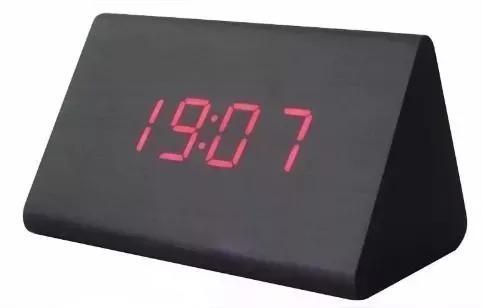 Relógio de mesa digital madeira led despertador t