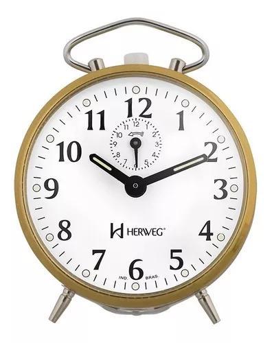 Relógio despertador antigo dourado a cordas herweg 2210