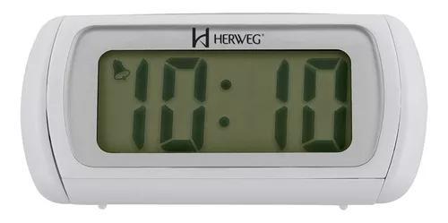 Relógio despertador digital branco luz noturna azul herweg