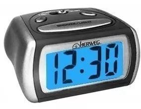 Relógio despertador digital cinza prata luz led azul 2916