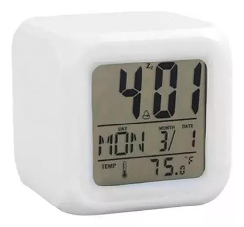 Relógio despertador digital cubo mesa led 7 cores colorido