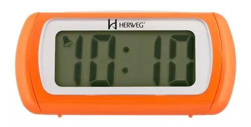 Relógio despertador digital laranja luz led herweg