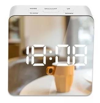 Relógio despertador digital led espelho