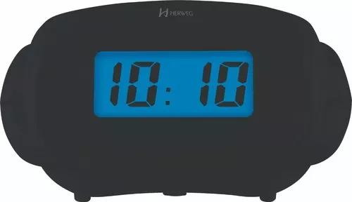 Relógio despertador digital luz noturna preto herweg 2973