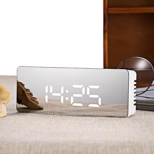 Relógio despertador digital mini led espelhado luz led