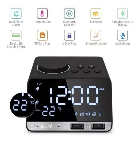 Relógio despertador digital rádio bluetooth alarm