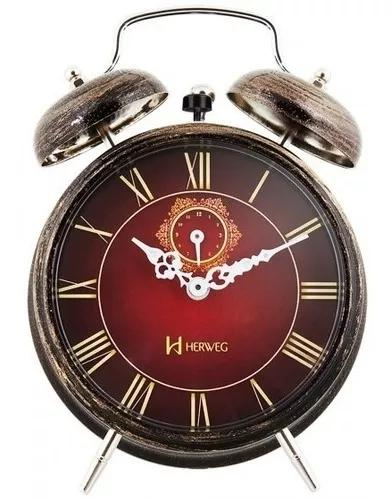 Relógio despertador herweg 2381 245 mecânic corda -