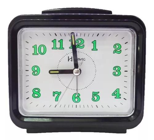 Relógio despertador herweg 2588 preto c/ dois tipos alarme