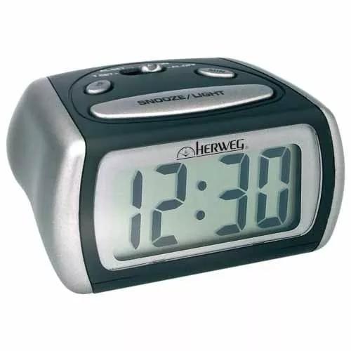 Relógio despertador herweg digital - 2916-034 preto e cinza