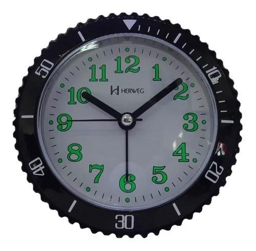 Relógio despertador herweg preto 2714-034 moderno j.