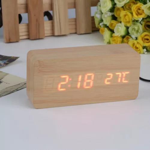 Relógio Despertador Mesa Digital Tipo Madeira Com Sound