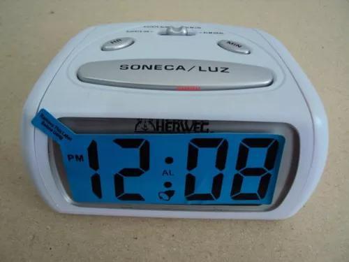 Relógio despertador pequeno digital branco luz led azul