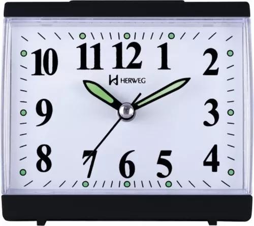 Relógio despertador pilha preto silencioso herweg 2712-021