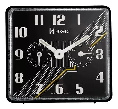 Relógio despertador preto quadrado a cordas original herweg