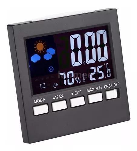 Relógio despertador termômetro higrômetro lcd led