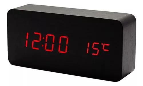 Relógio digital de madeira despertador led multifunções