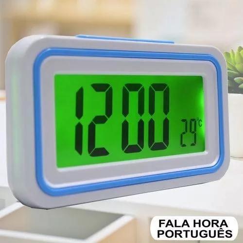 Relógio digital falante despertador de mesa termômetro