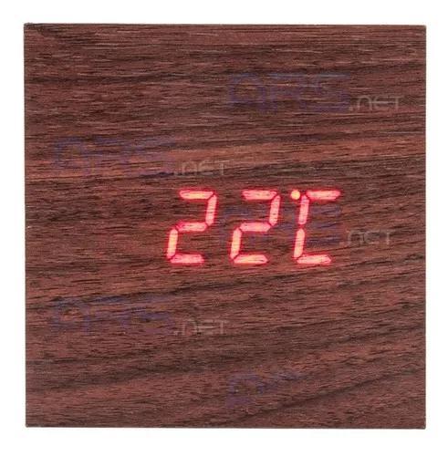 Relógio digital mesa tipo madeira c/ data t