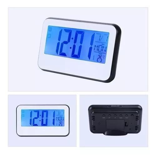 Relógio mesa digital despertador luz led números grandes