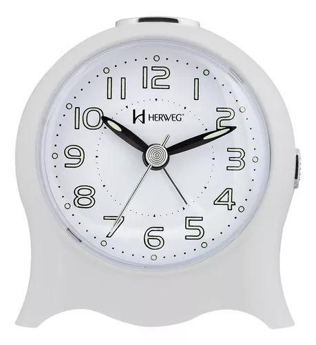 Relogio despertador herweg analógico branco 2572-021