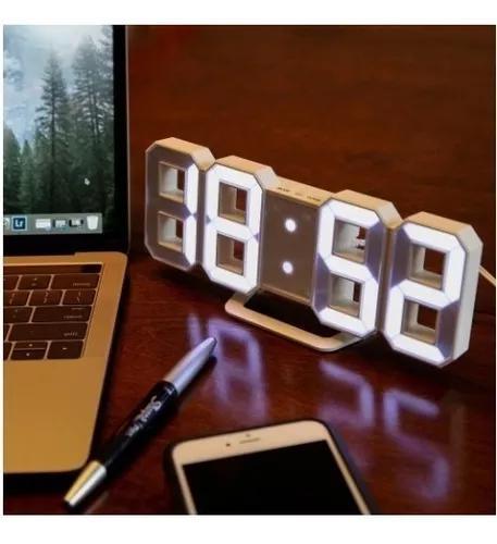 Relogio digital mesa e parede com luz noturna despertador