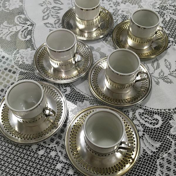 Conjunto 6 xícaras chá café antigas