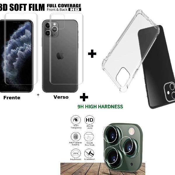 """Kit capa iphone 11 6.1"""", pro 5.8"""" ou pro max 6.5"""" + p/ tela"""